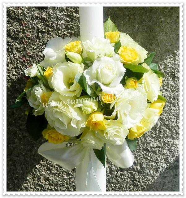 Lumanari botez trandafiri-lisianthus si miniroze.8929
